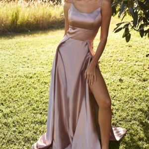 A&N Luxe Label Dresses - Long Pink Satin Women's Gown